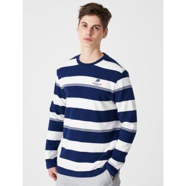 블루 남성 보더 스트라이프 긴팔 티셔츠 (BO9141D05P)
