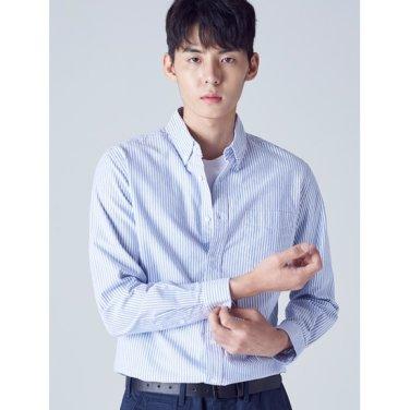 남성 블루 핀 스트라이프 코튼 셔츠 (458864WY3P)