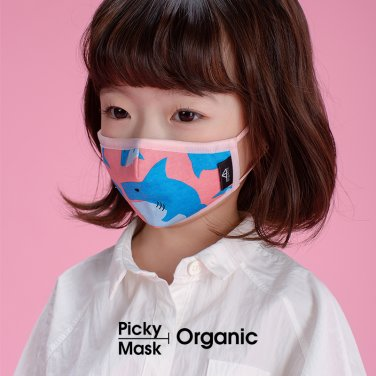 [피키마스크]유아 어린이 KC 필터 오가닉 입체 마스크_샤키