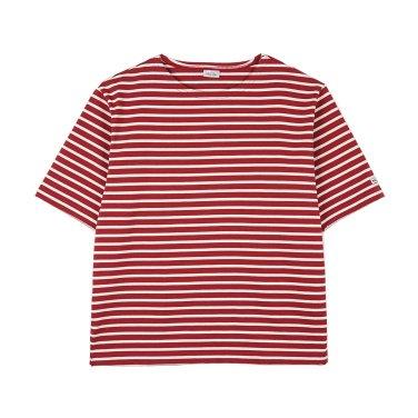 NOCLAIM Boat-neck Basque Slit Shirt Red x Ivory