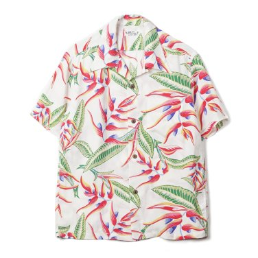 SUN SURF Hanging Heliconia Rayon S/S Shirt Off White