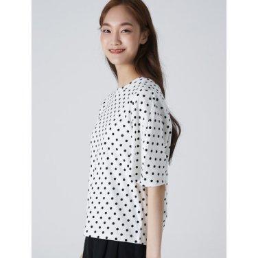 여성 아이보리 코튼 도트 퍼프 소매 티셔츠 (329742LYI0)