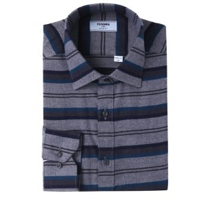 위사스트라이프 기모 슬림핏 셔츠 RIWSL4152GYLI
