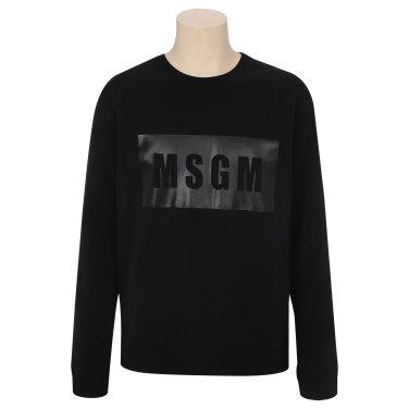 MSGM 남성 박스 로고 프린트 스웨트셔츠 2540MM68 블랙