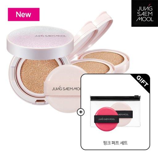 스킨 누더 쿠션 핑크 에디션(본품1+리필2)+핑크퍼프세트 증(2개입)