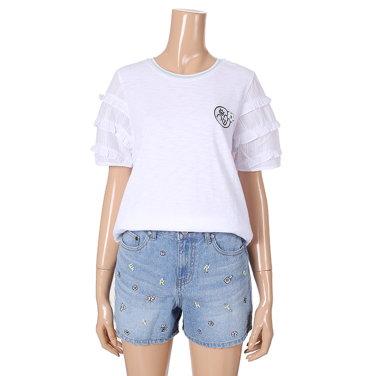 프릴소매 와펜 티셔츠(T183PWT605)