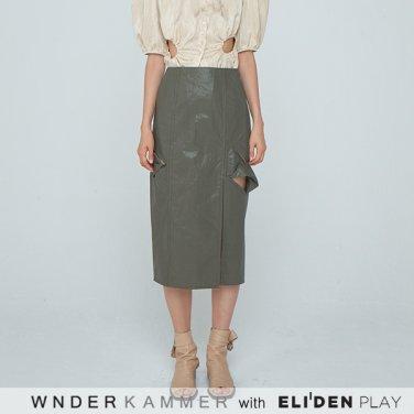 [분더캄머:WNDERKAMMER] 20SS Twist Long H-line Skirt Khaki (WK0M5-TLSK050)