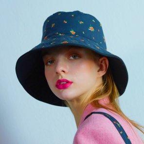 Reversible Flower bucket hat 004 Black