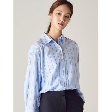 여성 스카이 블루 투컬러 핀 스트라이프 셔츠 (328764CY2Q)