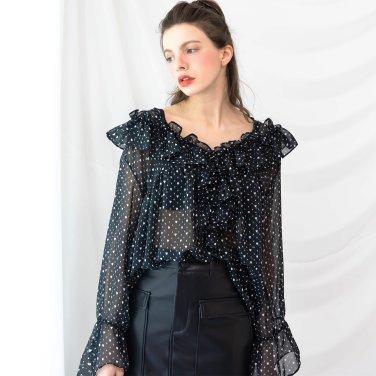 Ruffle Vneck Shirring Blouse Black(2019SSBL320_02)