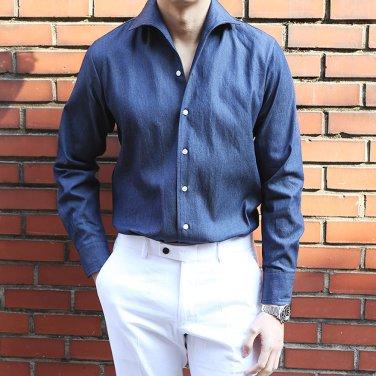 남성 2컬러 이탈리안 카라 데님 드레스 셔츠_SH0133