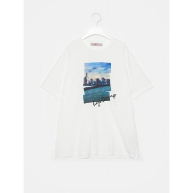 여성 화이트 베이직 포인트 프린팅 반소매 티셔츠 (329742LYX1)
