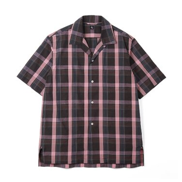 KAPTAIN SUNSHINE Open Collar Shirt Charcoal Plaid