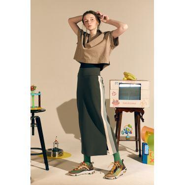 [테이즈] New Big Drape Long Skirt_Khaki