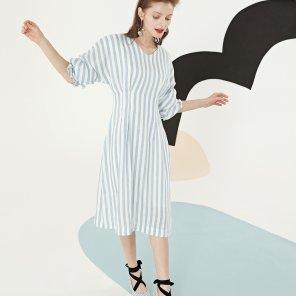 블루 스트라이프 린넨 드레스