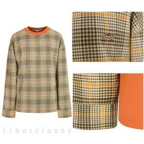 리버클래시(DJ) 오렌지 자수포인트 우븐 체크믹스 티셔츠 LGS41414