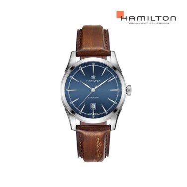H42415541 스피릿 오브 리버티 블루 가죽 남성 시계