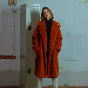 Outpocket teddy coat 002 Orange