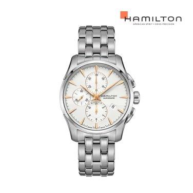 H32586111 재즈마스터 오토크로노 42mm 화이트 다이얼 메탈 남성 시계