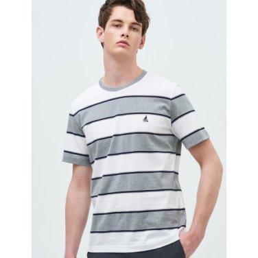 그레이 볼드 스트라이프 라운드넥 티셔츠 (BC9342A393)