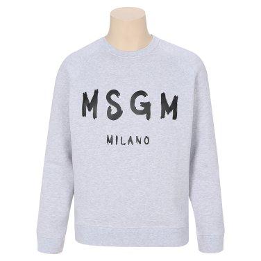 MSGM 남성 로고 프린트 스웨트셔츠 2540MM104 그레이