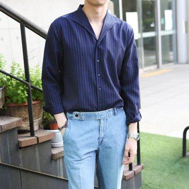 남성 5컬러 이탈리안 카라 잔 줄무늬 레이온 셔츠_SH0137