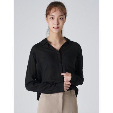 여성 블랙 베이직 포켓 슬릿 셔츠 (329764LYG5)