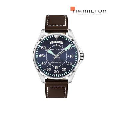 H64615545 카키 파일럿 오토 데이데이트 42mm 블루 가죽 남성 시계