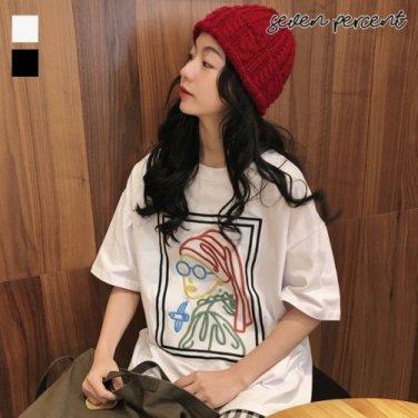 [세븐퍼센트] 남여공용 진주귀걸이 소녀 오버핏 커플 반팔 티