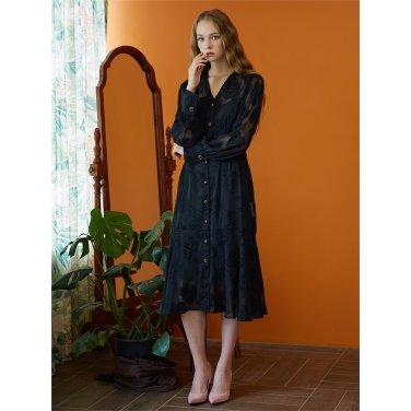 [일루스트리스일루전] B CHIFFON LEAF DRESS SLIP SET