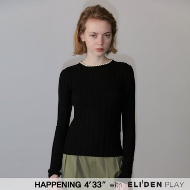 [HAPPENING 433] 20SS PEARL ROUND-NECK  RIB KNIT PULLOVER_BLACK (HP201KPO02)