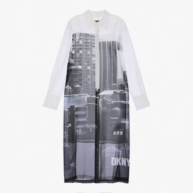 뉴욕 빌딩 일러스트를 잇스럽게 표현한 쉬폰 셔츠형원피스(DW1J3WOP085W)