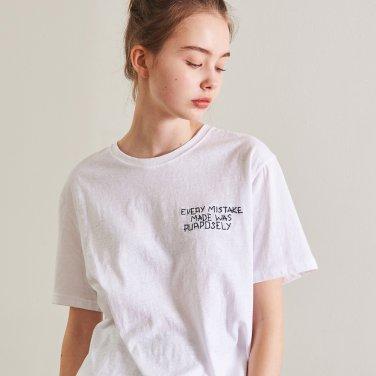 싱글 하프 자수 티셔츠