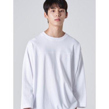 남성 화이트 솔리드 포인트 절개 티셔츠 (269741EY11)