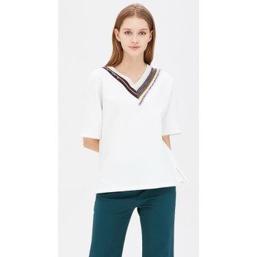 배색 니트 돌먼 티셔츠 BATS20941