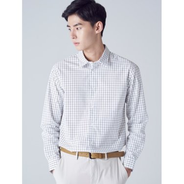 남성 화이트 윈도우페인 체크 코튼 셔츠 (228764TY21)
