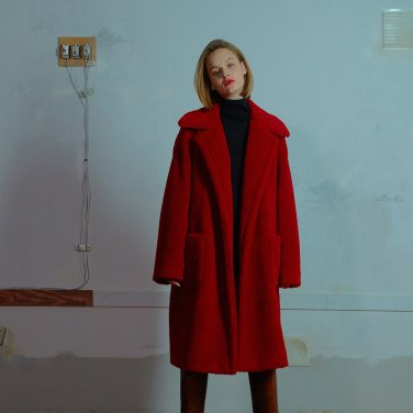 Outpocket teddy coat 002 Red