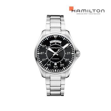 H64615135 카키 파일럿 오토 데이데이트 42mm 블랙 메탈 남성 시계