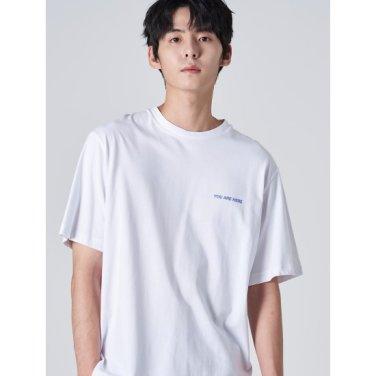 남성 화이트 백 포인트 프린팅 라운드넥 티셔츠 (429742DY61)