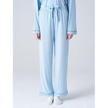 여성 [파자마 시리즈] 스카이 블루 파이핑 파자마 팬츠 (158921SYAQ)
