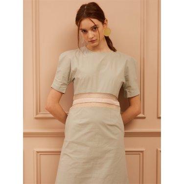 [까이에] Curved Power Shoulder Waist Line Dress