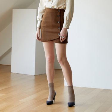 DIAGONAL WRAP SKIRT_BROWN
