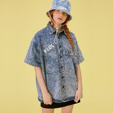 [RLOL] (BL-20101) RLOL SHORT-SLEEVED DENIM SHIRT BLUE