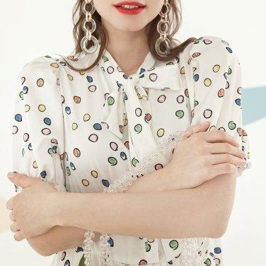 컬러 도트 패턴 2단 롱 드레스