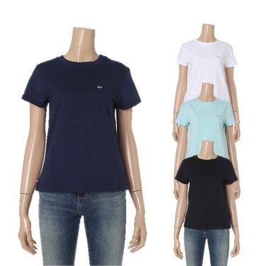 여성 코튼 솔리드 롤업 티셔츠 TUMT1KOE06A0