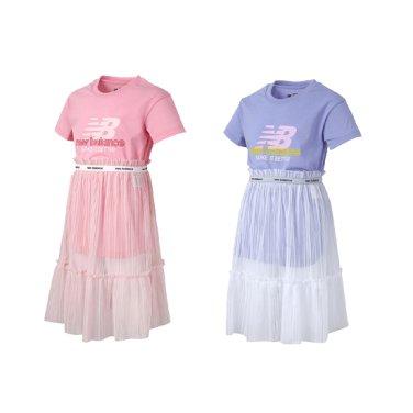 여아 냉감 롱 티셔츠형 원피스+메쉬스커트세트/여아스커트/NK9K92407G