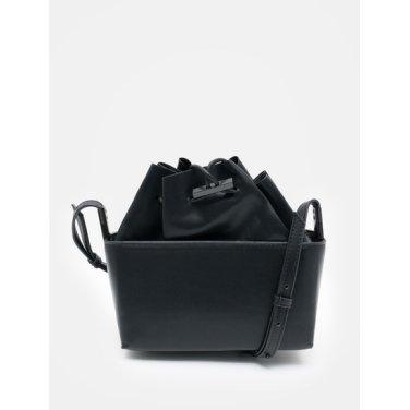 여성 블랙 페이크 레더 스퀘어 버킷 크로스백 (198XD3WJ15)