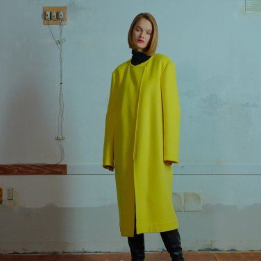 Nocollar open coat 001 Yellow