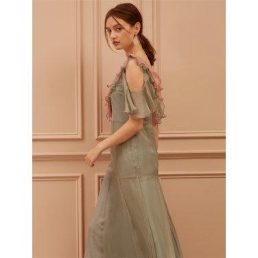 [까이에] Frilled Cut-Out Maxi Silk Dress