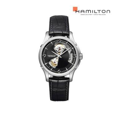 H32565735 재즈마스터 오픈하트 40mm 블랙 가죽 남성 시계